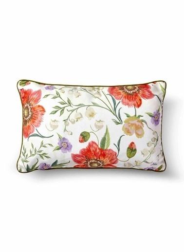 The Mia Floral Yastık B - Beyaz Çiçekli 50 x 30cm Beyaz
